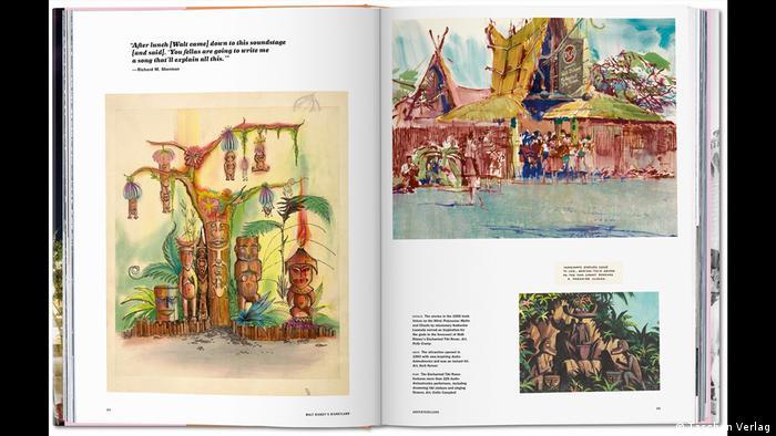 Aufgeschlagenes Buch mit Text und Fotos, Zeichnungen, Entwürfe für die Disneywelt, Foto: (Taschen Verlag)