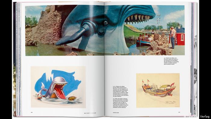 Aufgeschlagenes Buch mit Text und Bildern. Zeichnungen von Walfischen und Szene aus dem Disney-Park mit Walfischanimation (Taschen Verlag)