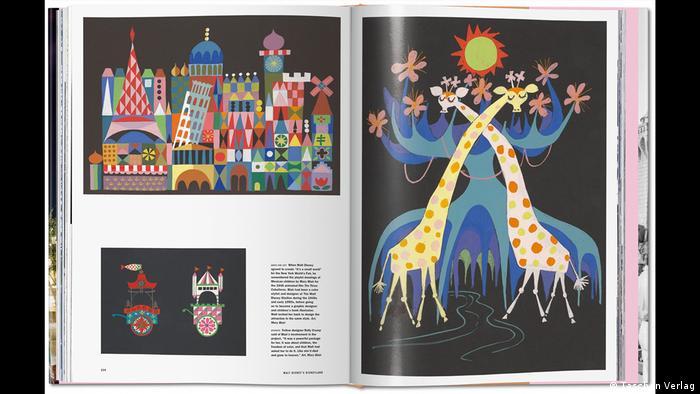Aufgeschlagenes Buch mit Text und drei Bildern mit bunten abstrakten Zeichnungen von Städten und Tieren (Taschen Verlag)