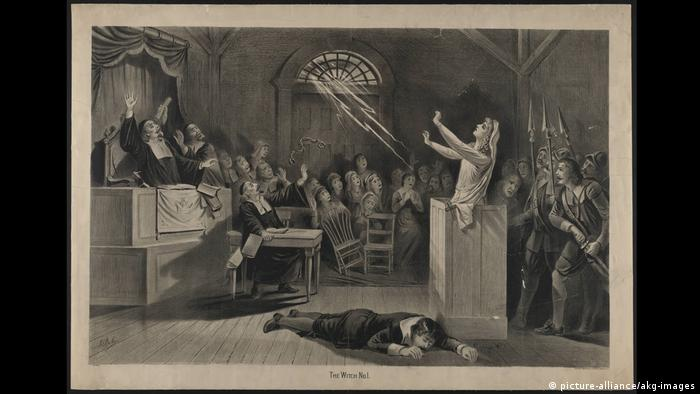 lithography of Salem witch trial (picture-alliance/akg-images)