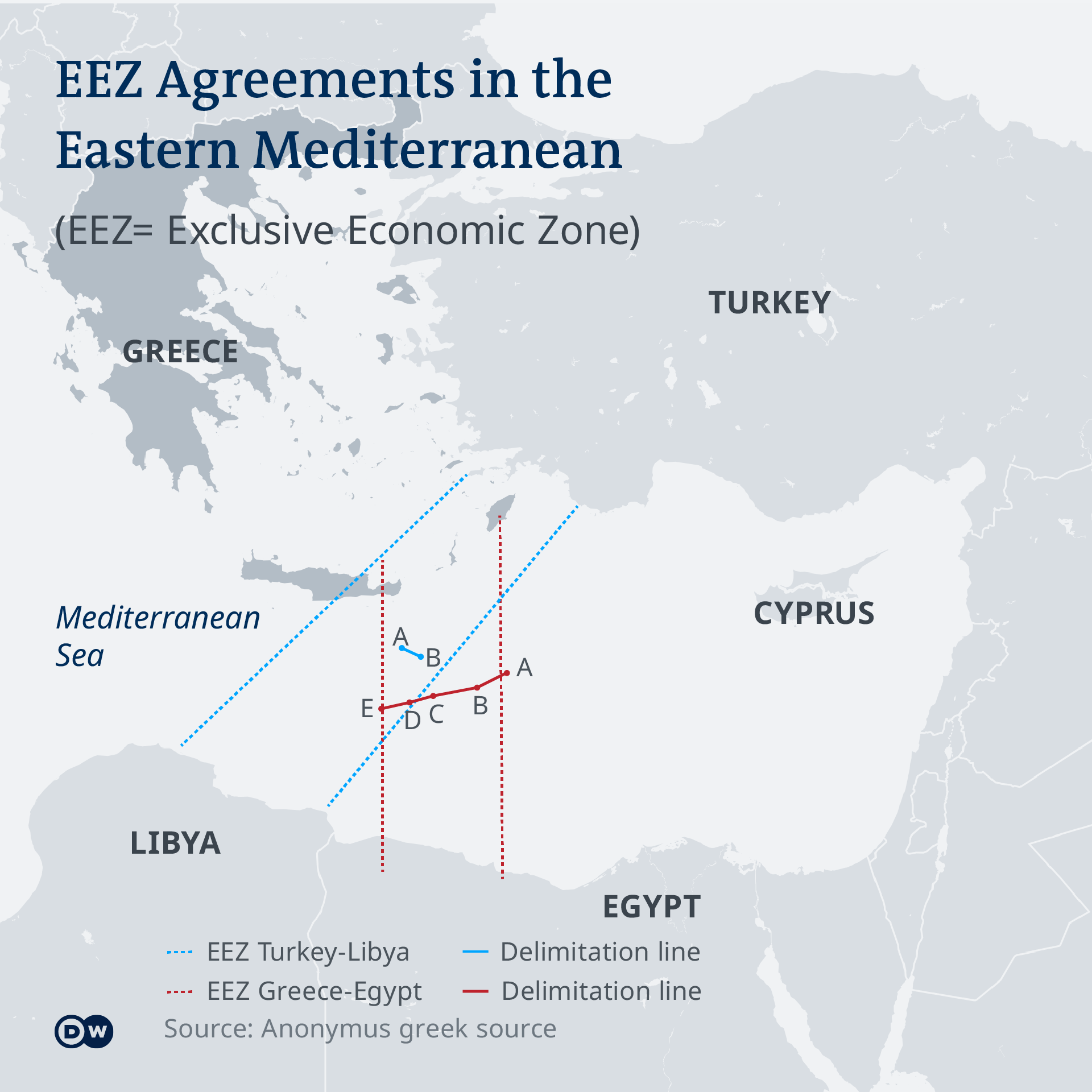 A map shows the various EEZ's on the Mediterranean Sea