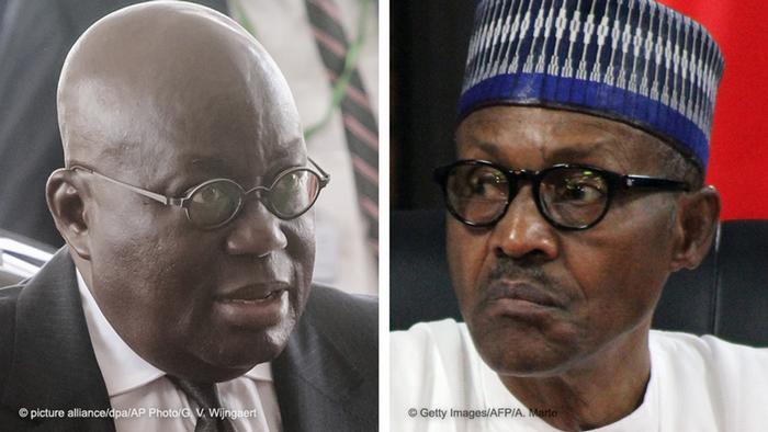 Presidents Nana Akufo-Addo of Ghana and Muhammadu Buhari of Nigeria