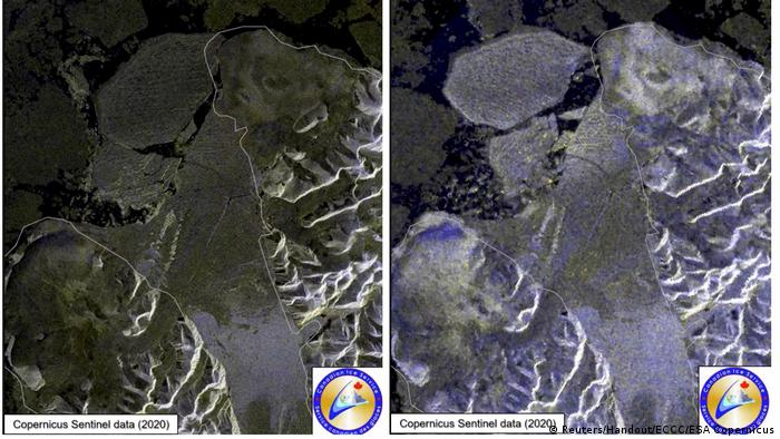 Satellite photos showing the collapse of the Milne Ice Shelf