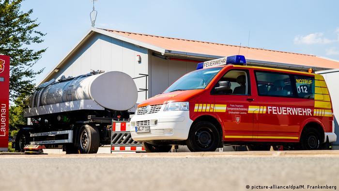 Цистерна с водой для технических нужд на пожарной станции в Лауэнау