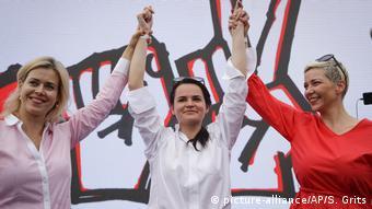 ВероникаЦепкало, Светлана Тихановская и Мария Колесникова на митинге, 19 июля