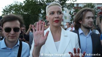 Мария Колесникова среди других оппозиционеров, август 2020 г.