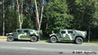 Военная техника на подъезде к Минску 9 августа 2020 года