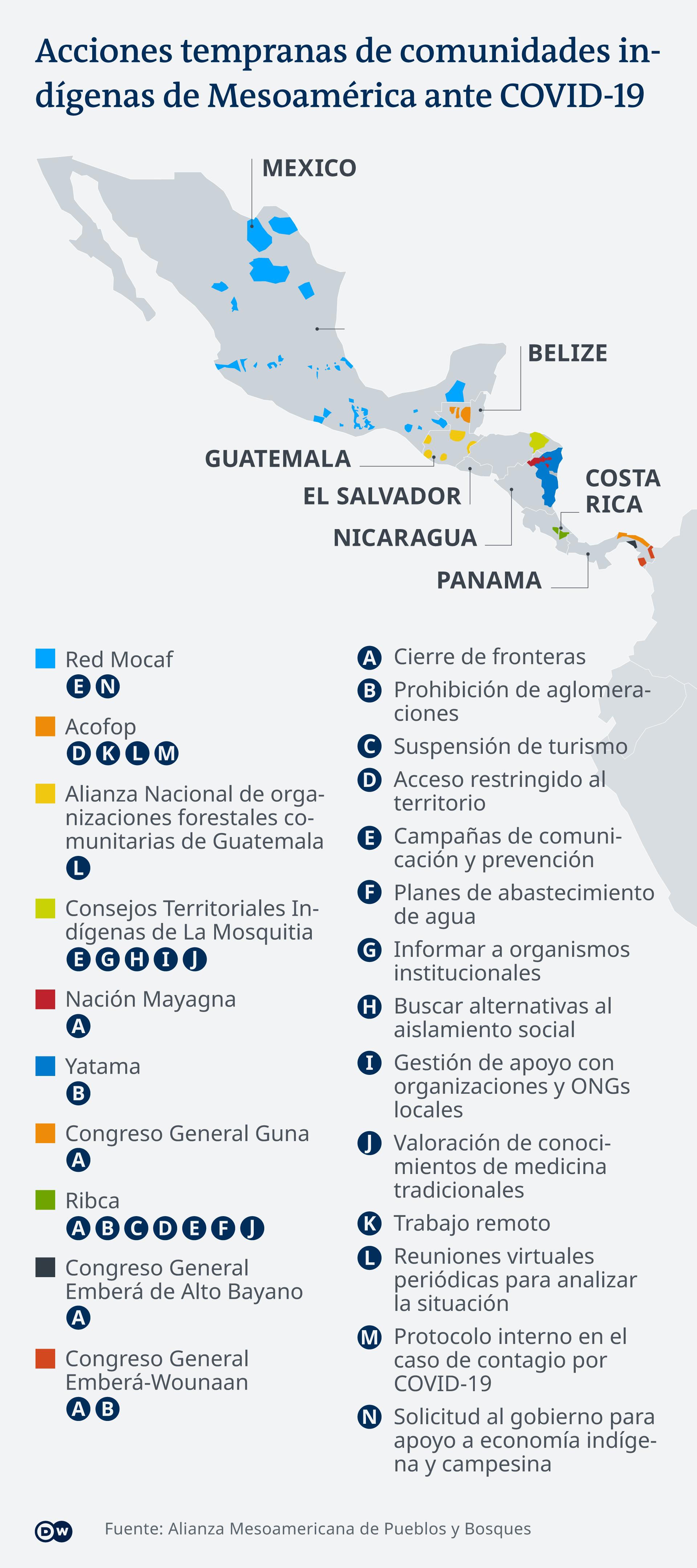 Infografik Karte Gebiete und Aktionen indigener Völker in Lateinamerika ES