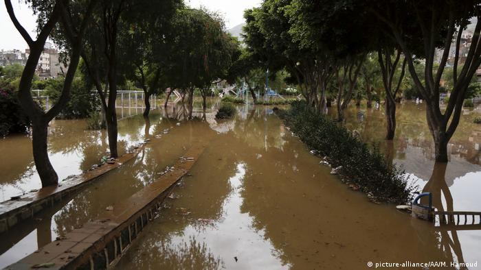 A flooded playground in Sanaa