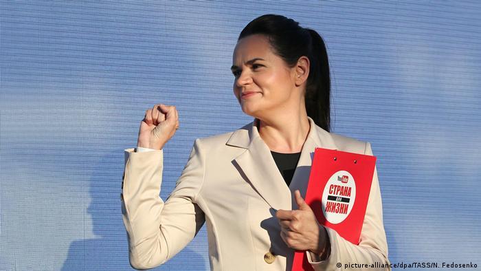 Weißrussland Präsidentschaftswahlen Kandidatin Swetlana Tichanowskaja (picture-alliance/dpa/TASS/N. Fedosenko)
