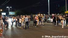 Minsk, Nacht zum 10.08.2020 Bild: Alexandra Boguslavskaya Demonstranten und Polizei in Minsk, der Hauptstadt von Belarus, nach Präsidentenwahl.