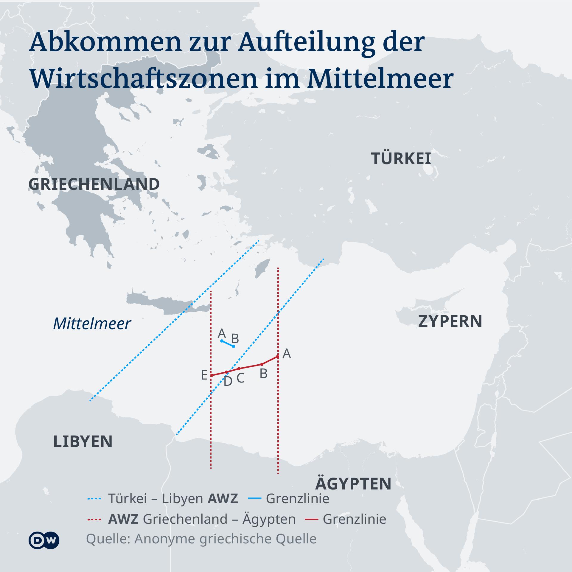Aufteilung der Wirtschaftszonen im Mittelmeer