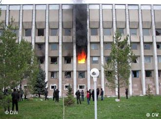 Burning building - scene from the protests that overthrew president Bakiyev
