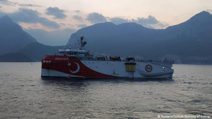 Turkish seismic research vessel Oruc Reis sails through Mediterranean after leaving a port in Antalya, Turkey