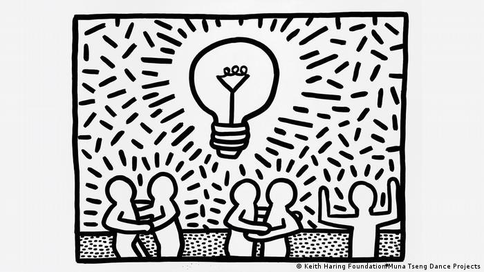 Keith Haring-Bild mit abstrakten, comichaft wirkenden Figuren unter einer großen Glühbirne (Keith Haring Foundation)