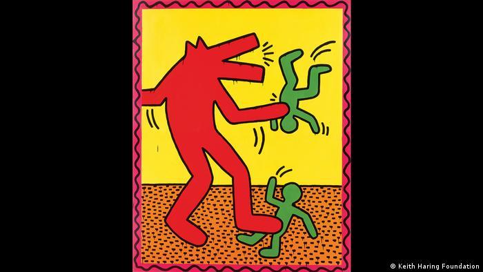 Keith Haring-Bild mit tierähnlichem großen Wesen (rot), dass mit zwei Menschen (grün) jongliert (Keith Haring Foundation)