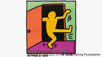 Vielfarbiges Keith Haring-Bild mit Männchen, das aus einer Tür tritt (Keith Haring Foundation)
