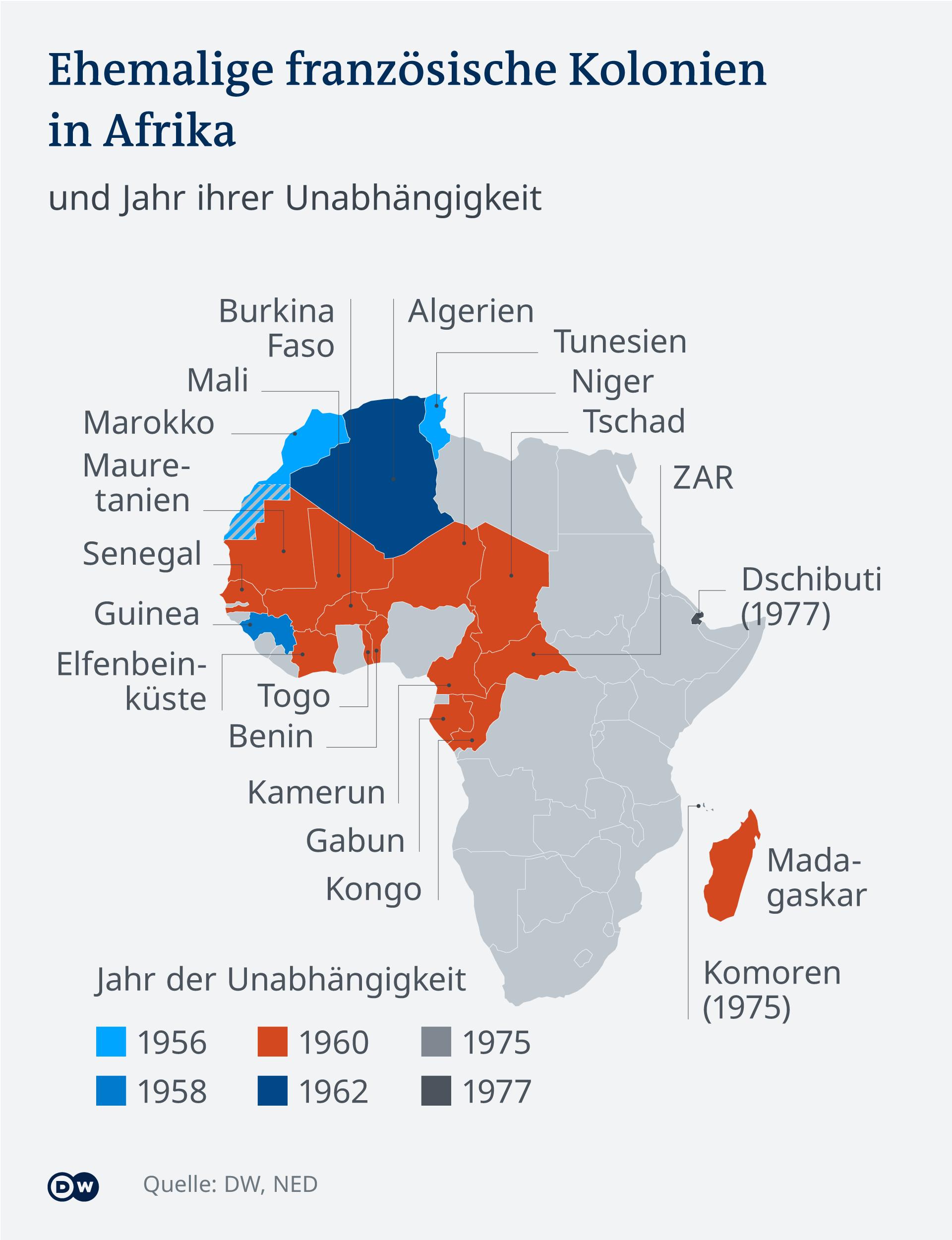 Infografik: Ehemalige französische Kolonien in Afrika und ihre Unabhängigkeit (DW Grafik)