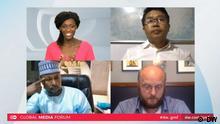 A screenshot of the Global Media Forum 2020 digital panel showing (clockwise from top left) Elizabeth Shoo, DW; Brang Mai, Myitkyina News Journal; David Schraven, Correctiv; and Nasir Salisu Zango, Freedom Radio.