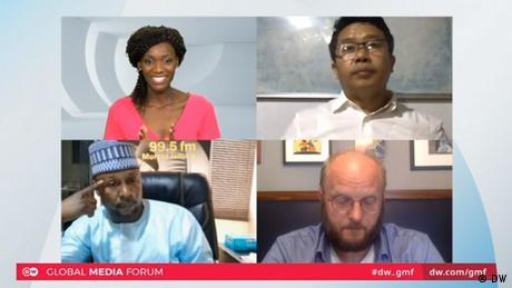 A screenshot of the Global Media Forum 2020 digital panel showing (clockwise from top left) Elizabeth Shoo, DW; Brang Mai, Myitkyina News Journal; David Schraven, Correctiv; and Nasir Salisu Zango, Freedom Radio.