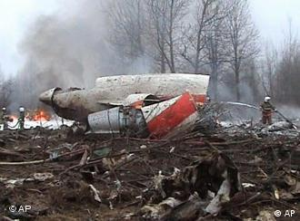 The remains of Lech Kaczynski's plane in Russia