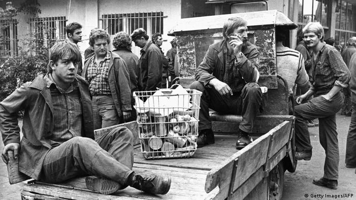 Strajkujący stoczniowcy