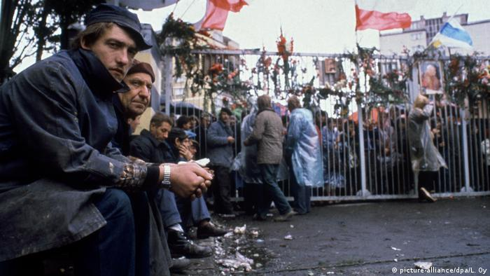 Workers on strike at Lenin shipyard in Gdansk in 1980