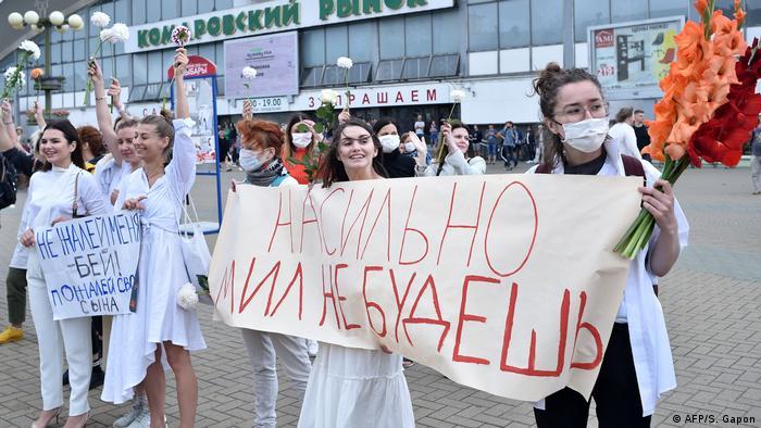 Minsk - Proteste von Frauen gegen Wahlfälschung