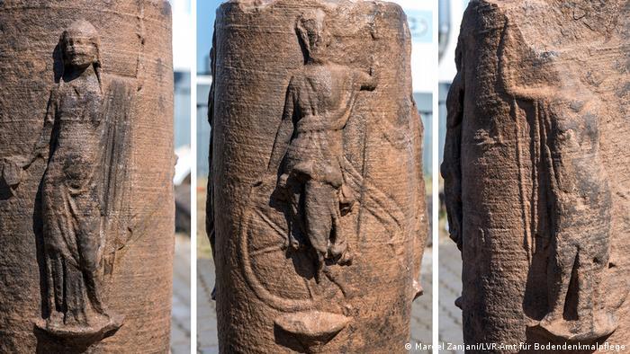 Юнона, Немезида Диана и Минерва (слева направо) - барельефы на колонне Юпитера, обнаруженной в Хамбахском угольном карьере