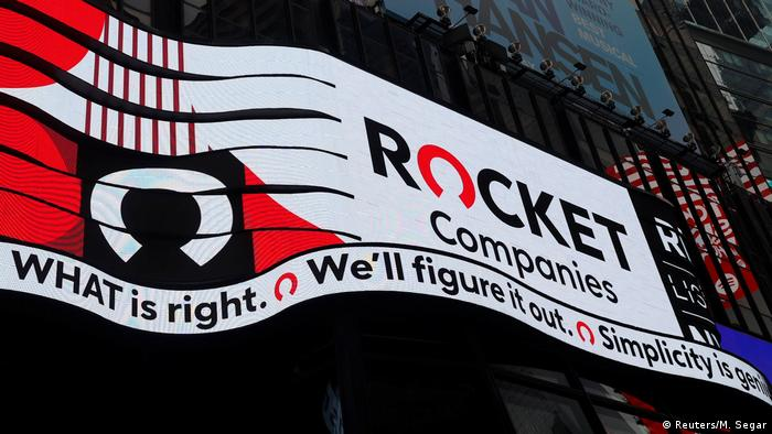 Times Square in New York before the IPO of Rocket Companies, Inc on August 6