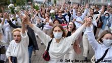 Minsk Protest Wahlbetrug Frauen
