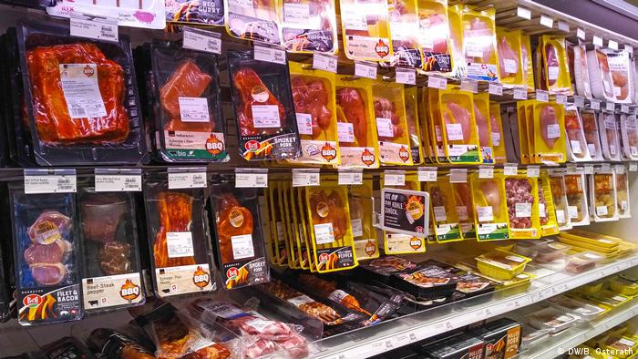 Packed meat in Swiss supermarket