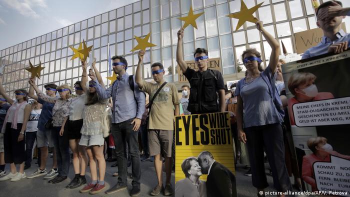 Prosvjed ispred njemačkog veleposlanstva u Sofiji protiv podrške Borisovu (12.8.2020.)