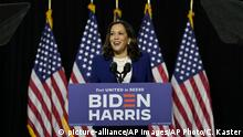 Democratic presidential candidate former Vice President Joe Biden's running mate Sen. Kamala Harris, D-Calif., speaks during a campaign event at Alexis Dupont High School in Wilmington, Del., Wednesday, Aug. 12, 2020. (AP Photo/Carolyn Kaster) |