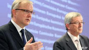 Jean-Claude Juncker and Olli Rehn unveil financial aid package for Greece