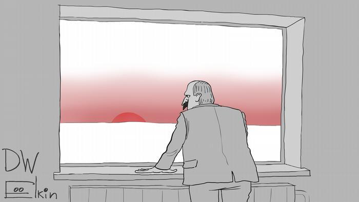 Карикатура Сергея Елкина тему отношения Лукашенко к бело-красно-белой символике