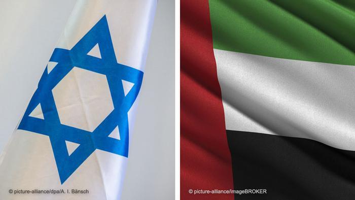 Bildkombi Fahne von Israel und Fahne der Vereinigten Arabischen Emirate