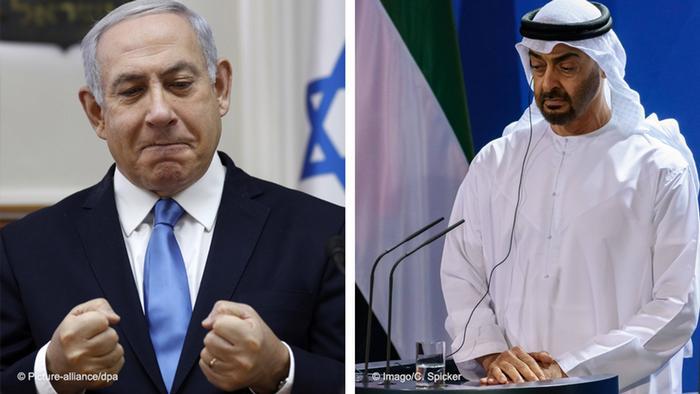 PM Israel Benjamin Netanyahu (kiri) dan Putra Mahkota Abu Dhabi Mohammed bin Zayed (dpa-Bildfunk)