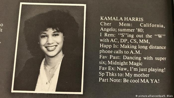 کامالا هریس دوران مدرسه و دبیرستان را در مونترال کانادا گذراند. (عکسی از کتاب سالانه دبیرستان مربوط به سال ۱۹۸۰ که در آن تصاویر و اطلاعاتی از دانشآموزان منتشر میشود)