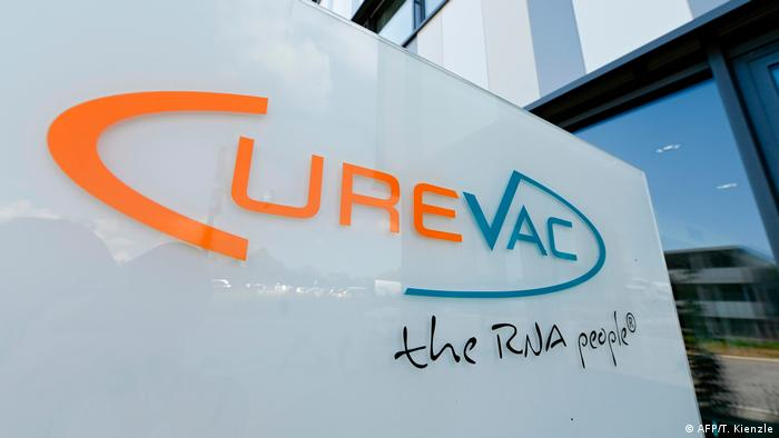 CureVac logo in front of the company's south German headquarters
