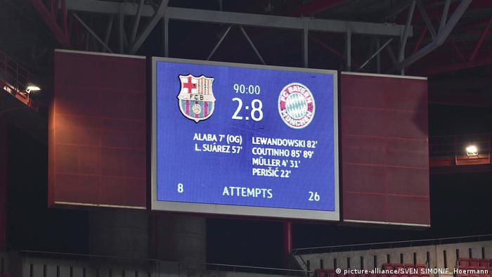The scoreboard for Bayern's 8-2 win over Barcelona