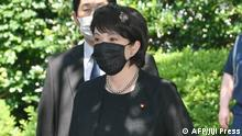 August 15, 2020*** Japan Minister of Internal Affairs and Communications Sanae Takaichi visits the Yasukuni Shrine in Tokyo on August 15, 2020 to mark the 75th anniversary of Japan's surrender in World War II. (Photo by STR / JIJI PRESS / AFP) / Japan OUT