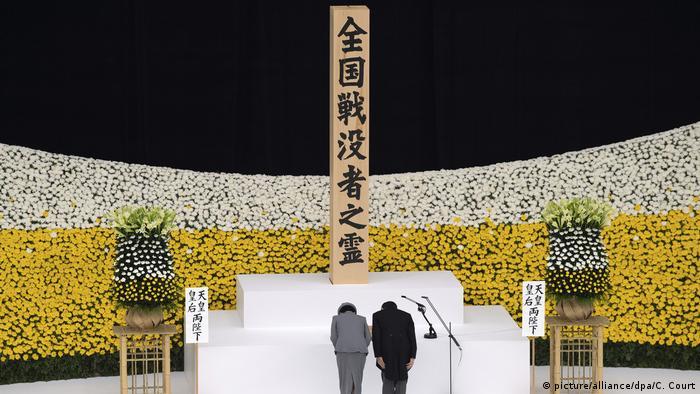 Imperador Naruhito e imperatriz Masako em cerimônia pelos 75 anos da rendição japonesa