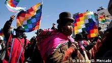August 14, 2020*** Aymara indigenous attend a rally demanding Bolivia's President Jeanine Anez's (not pictured) resignation, while the Bolivian Union Workers (COB) declare a pause to protests according to local media, amid the coronavirus disease (COVID-19), in El Alto, on the outskirts of La Paz, August 14, 2020. REUTERS/David Mercado TPX IMAGES OF THE DAY