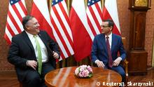 U.S. Secretary of State Mike Pompeo talks with Polish Prime Minister Mateusz Morawiecki prior to a meeting at the Chancellery in Warsaw, Poland August 15, 2020. Janek Skarzynski/Pool via REUTERS