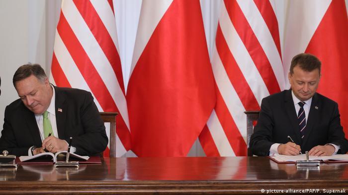 Госсекретарь США Майкл Помпео и министр национальной обороны Польши Мариуш Блащак в Варшаве