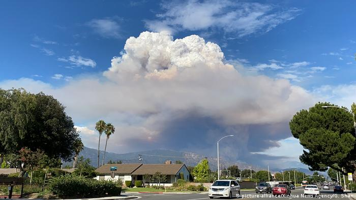 Fire and smoke plume in southern California