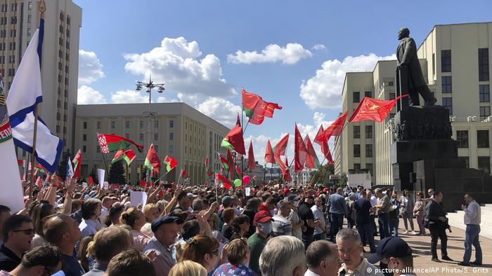 Lukashenko supporters at a rally in Minsk
