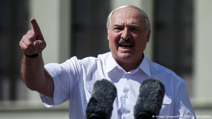 President Alexander Lukashenko addresses supporters