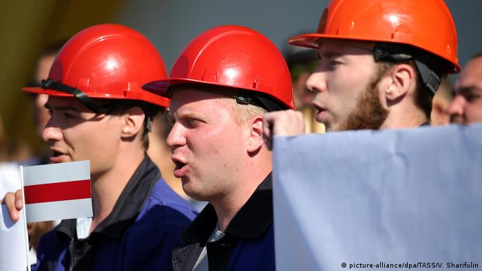 Factory workers at an anti-Lukashenko rally in Minsk